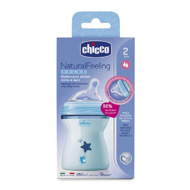 CH BIB NAT-FEEL 2M+ BOY 250ML
